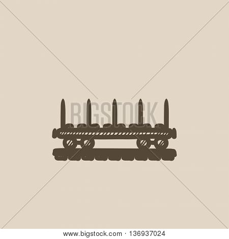 Cargo wagon vector sketch icon isolated on background. Hand drawn Cargo wagon icon. Cargo wagon sketch icon for infographic, website or app.