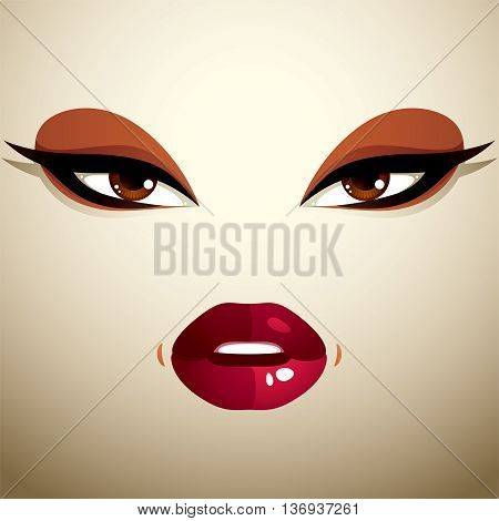 Coquette woman eyes and lips stylish makeup. People negative facial emotions anger.