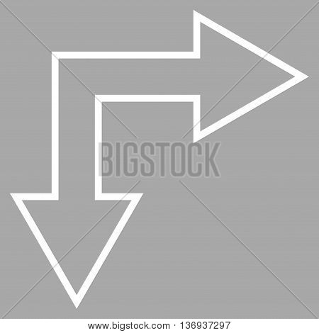 Choice Arrow Right Down vector icon. Style is contour icon symbol, white color, silver background.