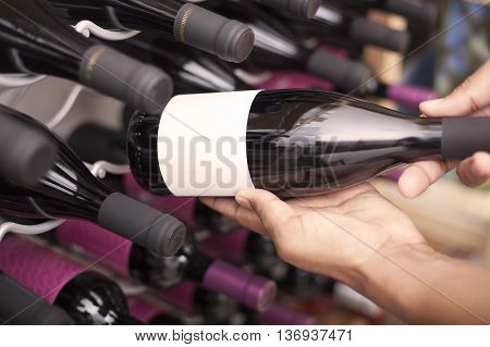 Close up of wine cellar bottles in a cellar