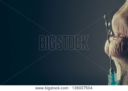 Woman With Syringe In Hand