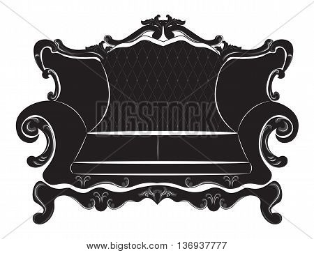 Vector Baroque sofa furniture with luxury ornaments. Vector sketch rich furniture