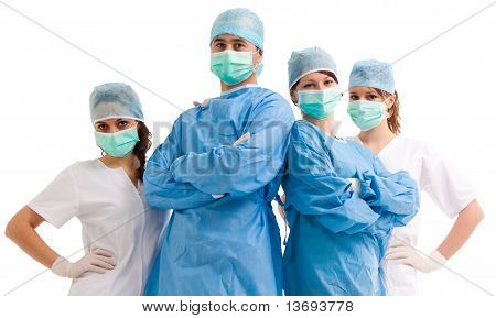 Team of surgeons and nurses