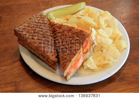 Horizontal image of hot,grilled tomato and cheese paninni, on simple white plate,potato chips and pickle on the side.