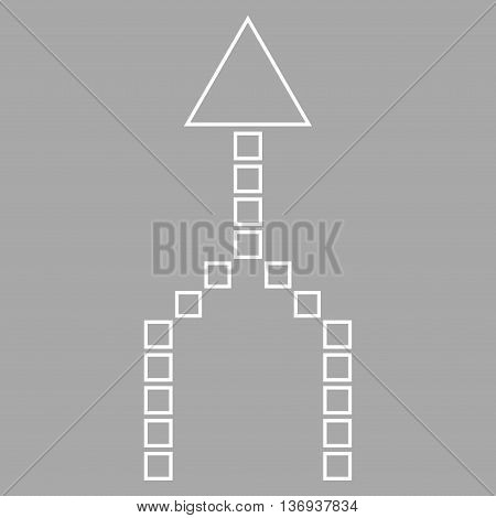 Combine Arrow Up vector icon. Style is outline icon symbol, white color, silver background.