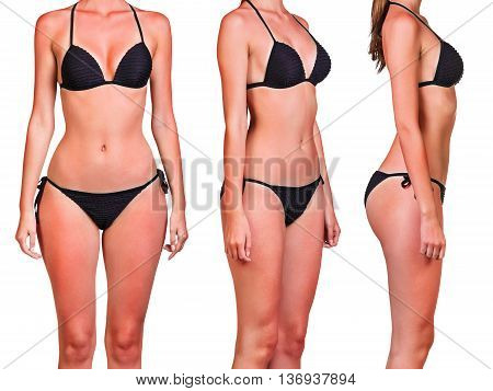 Woman's body with a bad case of sunburn isolated on white background