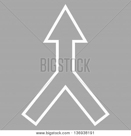 Connect Arrow Up vector icon. Style is outline icon symbol, white color, silver background.