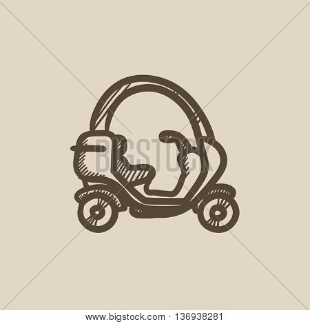 Rickshaw vector sketch icon isolated on background. Hand drawn Rickshaw icon. Rickshaw sketch icon for infographic, website or app.