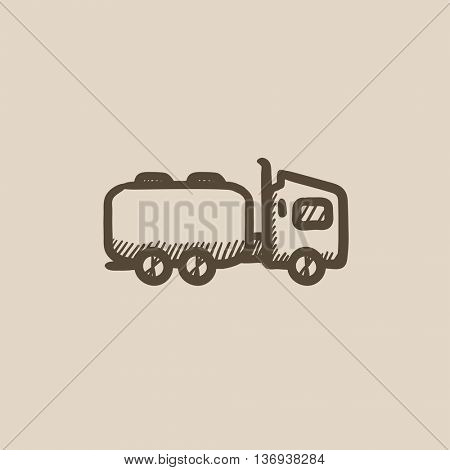 Truck liquid cargo vector sketch icon isolated on background. Hand drawn Truck liquid cargo icon. Truck liquid cargo sketch icon for infographic, website or app.