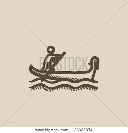 Sailor rowing boat vector sketch icon isolated on background. Hand drawn Sailor rowing boat icon. Sailor rowing boat sketch icon for infographic, website or app.