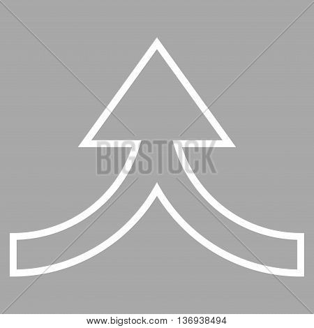 Connection Arrow Up vector icon. Style is stroke icon symbol, white color, silver background.
