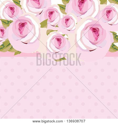 Watercolor pink Rose Flowers bouquet. Vintage Watercolor Blooming Roses on dotted background. Vector Watercolor Roses for wedding invitation anniversary celebration events texture textile