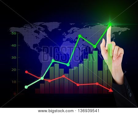 Business hand working economy of financial in the world.