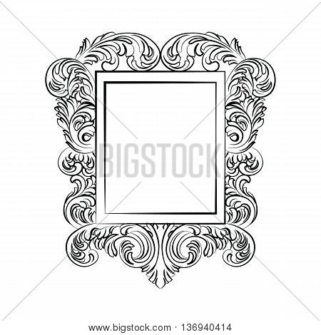 Glamorous Baroque Rococo Mirror frame. Vector French Luxury rich carved ornaments and Wall Frames. Victorian wealthy Style frame
