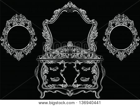 Rich Baroque furniture set. Dressing Table and mirror frame. French Luxury rich carved ornaments furniture. Vector Victorian Royal Style furniture. White on black