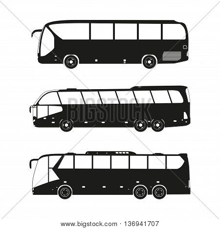 Bus black silhouettes on a white background. Vector illustration