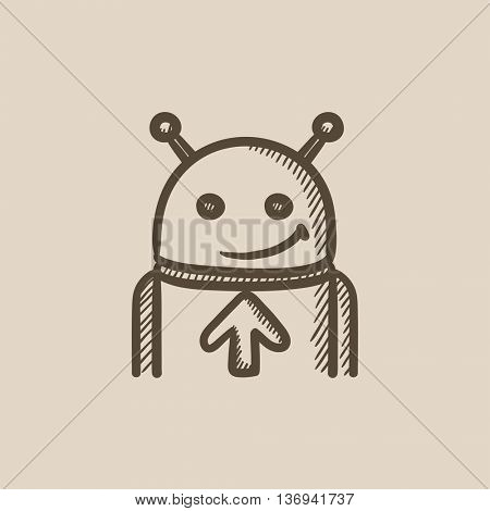 Robot with arrow up vector sketch icon isolated on background. Hand drawn Robot with arrow up icon. Robot with arrow up sketch icon for infographic, website or app.