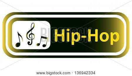 Long icon with a yellow gradient and the inscription hip-hop