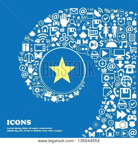 Star, Favorite Sign Symbol. Nice Set Of Beautiful Icons Twisted Spiral Into The Center Of One Large