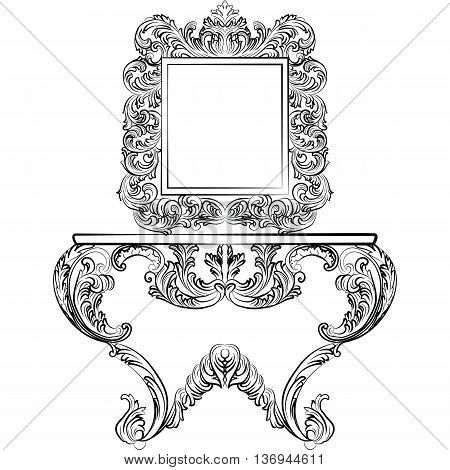 Exquisite Rich Rococo furniture set. Dressing Table and mirror frame. French Luxury rich carved ornaments furniture. Vector Victorian Imperial Style furniture