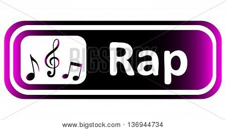 Long icon with a violet gradient and the inscription rap