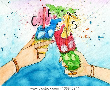 Watercolor illustration of two hands friends with two coctails. Cheering of two glasses with fresh and icy drinks. Picture with calligraphy text