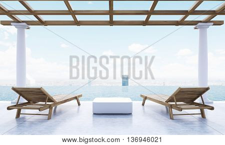 Resort lounge area with small table two wooden chaise lounges with sea and New York city view. 3D Rendering