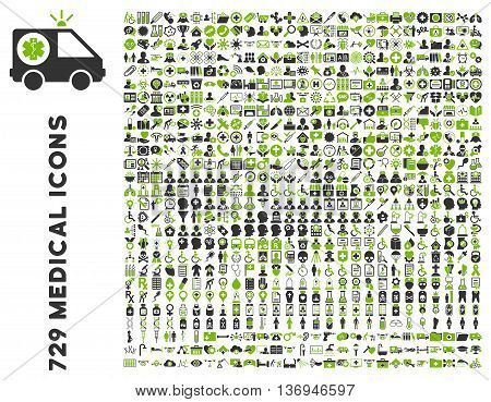 Medical Icon Set with 729 vector icons. Style is bicolor eco green and gray flat icons isolated on a white background.