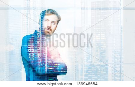 Handsome bearded businessman with folded arms on New York city background. Double exposure