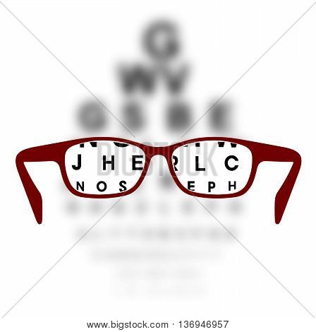 On the image is presented Optometry medical background glasses with blurred background