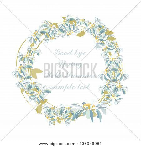Watercolor Chamomile flowers wreath card. Vector Wedding with Chamomile flowers. Greeting card in Vintage or Retro style