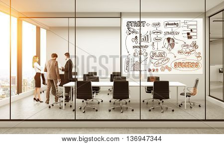 Success concept with business sketch on whiteboard in furnished conference room interior with discussing businesspeople New York city view and sunlight. 3D Rendering