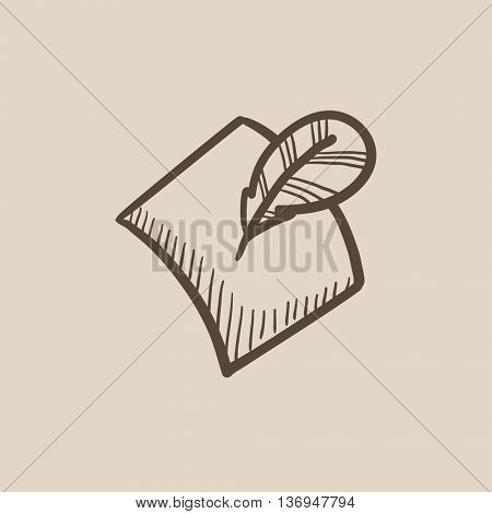 Feather and document vector sketch icon isolated on background. Hand drawn Feather and document icon. Feather and document sketch icon for infographic, website or app.