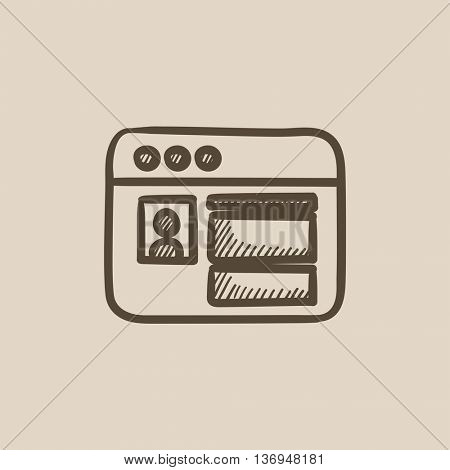 Browser window with social network internet page vector sketch icon isolated on background. Hand drawn Browser window icon. Browser window sketch icon for infographic, website or app.