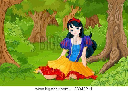 Pretty girl wearing Snow White costume