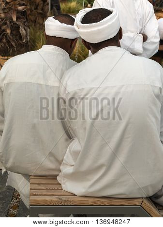 Arab Men with Turban and White Traditional Tunics