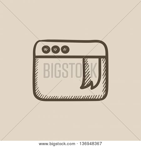Browser window with bookmark vector sketch icon isolated on background. Hand drawn Browser window with bookmark icon. Browser window with bookmark sketch icon for infographic, website or app.