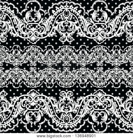 White vintage Lace Crochet pattern. Damask classic lace pattern with floral and dotted ornament in Victorian style. Black polka dotted background Vector lace