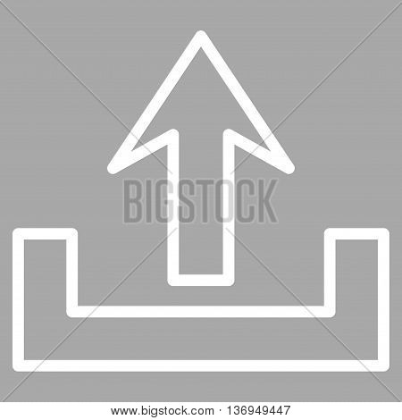 Upload vector icon. Style is outline icon symbol, white color, silver background.