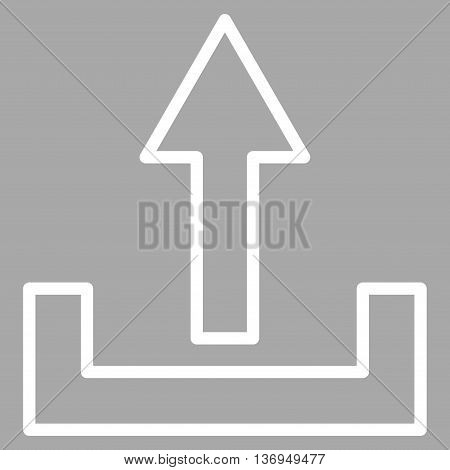 Upload vector icon. Style is thin line icon symbol, white color, silver background.