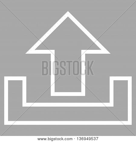 Upload vector icon. Style is contour icon symbol, white color, silver background.