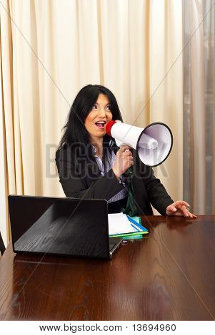 Funny Executive Shouting Away In Megaphone