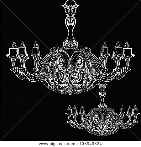 Rich Baroque Classic chandelier on white background. Luxury decor accessory design. Vector illustration sketch. Black background