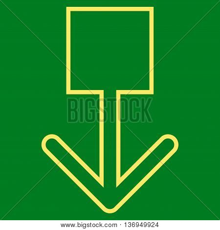 Pull Down vector icon. Style is outline icon symbol, yellow color, green background.