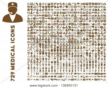 Medical Icon Set with 729 vector icons. Style is brown flat icons isolated on a white background.