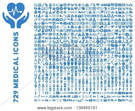 Medical Icon Set with 729 vector icons. Style is cobalt flat icons isolated on a white background.