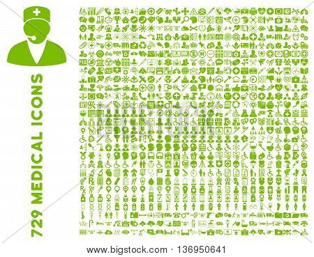 Medical Icon Set with 729 vector icons. Style is eco green flat icons isolated on a white background.