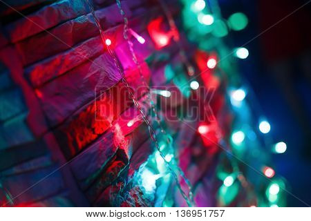 colored lights on the wall at the festival