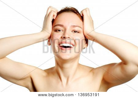Happy smiling young woman- Isolated at white background.