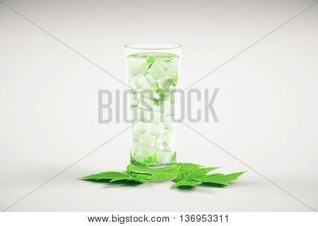 Tall glass with mojito cocktail and mint leaves on light background. 3D Rendering